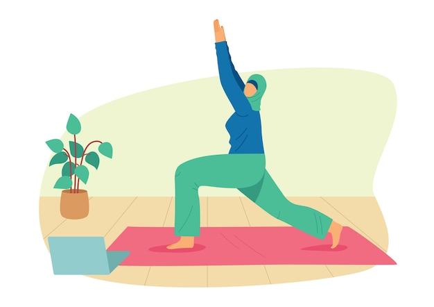 Illustrazione di stile piatto colorato. una ragazza con l'hijab è impegnata nello yoga a casa. donna musulmana che lavora a casa online. ragazza in abiti sportivi su una stuoia sta in un asana