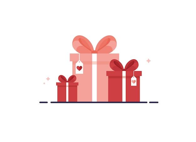 Scatole regalo colorate con nastro e fiocco come collezione per compleanno, natale e capodanno. rosso