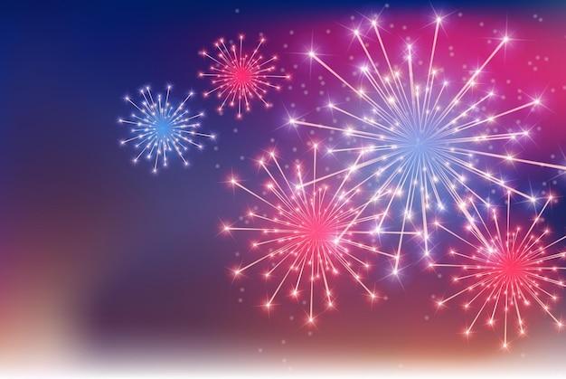Illustrazione lucida colorata di vettore del fondo dei fuochi d'artificio. eps10