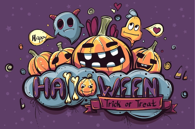 Doodle di halloween disegnato a mano colorato