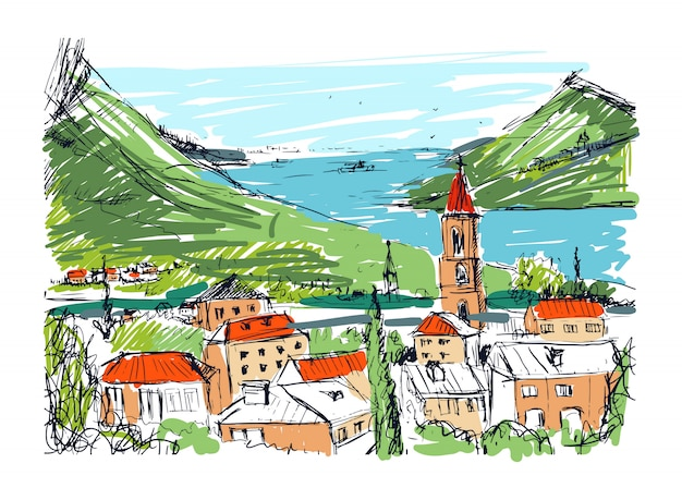 Paesaggio disegnato a mano colorato con vecchia città georgiana, montagne e porto. bellissimo schizzo colorato a mano libera con edifici e strade della piccola città situata vicino al mare e alle colline. illustrazione. Vettore Premium