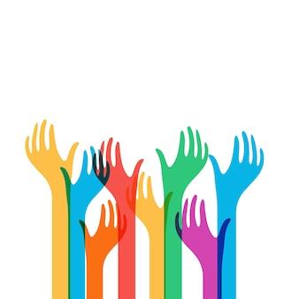 Le mani colorate raggiungono l'icona di vettore. richiesta di aiuto semplice modello di logo. avendo bisogno di aiuto isolato illustrazione astratta
