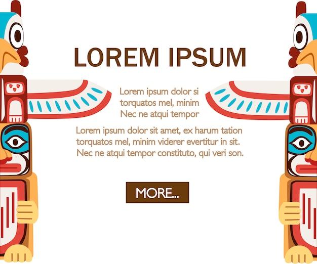 Totem indiano colorato. oggetto in legno simbolo animale pianta rappresentazione famiglia clan tribù. illustrazione su sfondo bianco. pagina del sito web dell'app mobile