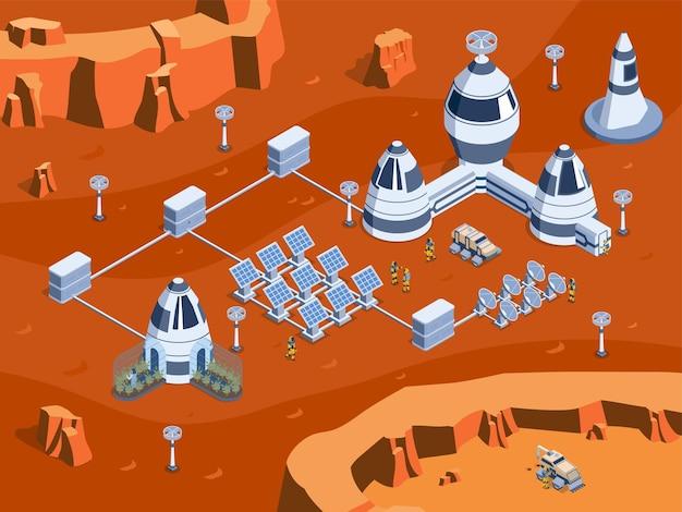 Illustrazione isometrica colorata di colonizzazione di marte con i rover dei robot dell'attrezzatura di scienza e l'illustrazione dei cosmonauti