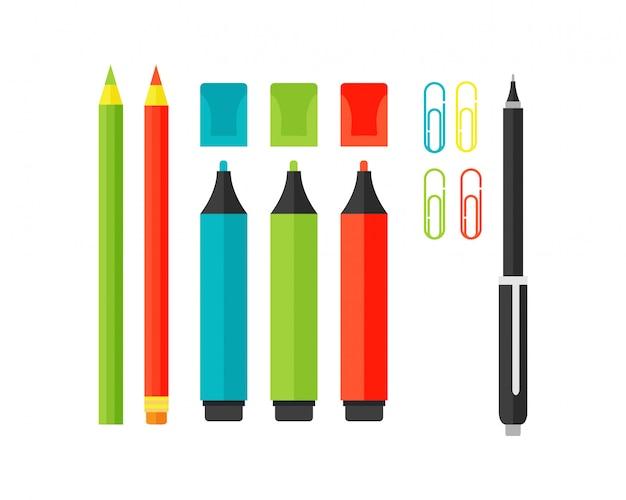 Illustrazione colorata di vettore degli evidenziatori del rifornimento di scuola dell'indicatore. Vettore Premium