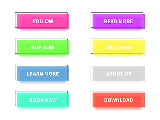 Bottoni piatti colorati moderni alla moda. set di pulsanti rettangolari, forme principali e icone con cornici nere quadrate per siti web, app mobili e videogiochi, raccolta vettoriale isolata