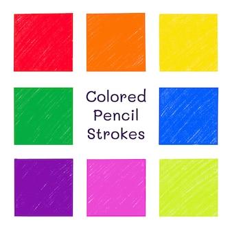 Insieme di vettore di tratti di matita colorata raccolta di sfondo di riempimento quadrato di texture pastello isolata
