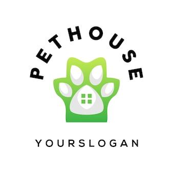 Vettore di disegno del logo colorato della casa dell'animale domestico