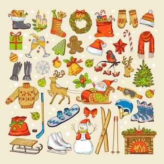 Immagini colorate di giocattoli natalizi e oggetti specifici della stagione invernale. vacanze invernali di natale, albero di natale e regalo per il nuovo anno. illustrazione