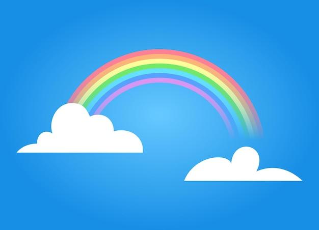 Arcobaleno colorato con nuvole. illustrazione del fumetto di vettore isolata su cielo blu. simbolo estivo. design per la decorazione di interni e poster della camera dei bambini