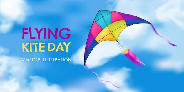 Banner di aquilone colorato e realistico con titolo del giorno di aquilone volante nel cielo