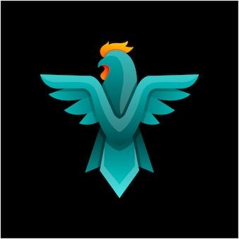 Vettore di disegno del logo del gallo colorato