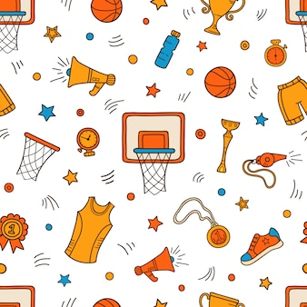 Modello senza cuciture colorato di simboli e oggetti di basket