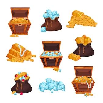 Set colorato con bauli pieni e sacchi di tesori, pile di lingotti d'oro, monete e diamanti. elementi piatti colorati