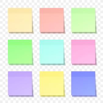 Foglio colorato di carte per appunti con ombra Vettore Premium
