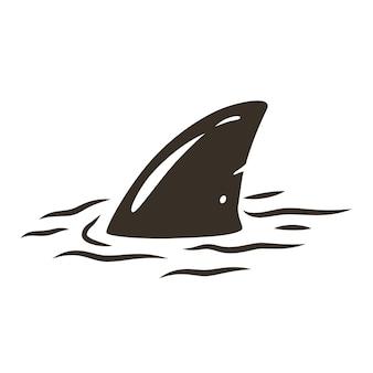 Stampa surf colorata di pinna di squalo e tavola da surf sulle onde. illustrazione vettoriale hawaii estate t-shirt design