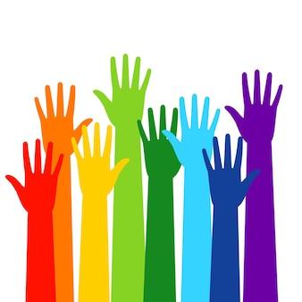Illustrazione isolata mani colorate della folla volontaria