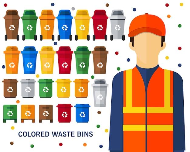 Fondo colorato di concetto dei bidoni della spazzatura. icone piatte.