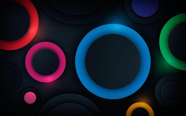 Sfondo colorato con strati di dimensioni a forma di cerchio 3d