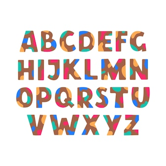 Alfabeto colorato astratto abs con macchie multicolori isolate su sfondo bianco in stile piatto