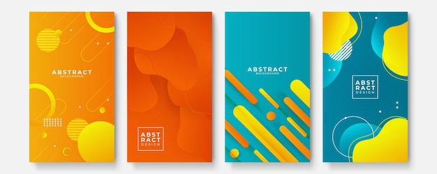 Modelli di sfondo astratto colorato con forme d'onda geometriche dan. disegno geometrico futuro. raccolta di modelli per brochure, poster, copertine, quaderni, riviste, banner, volantini e cartoline.