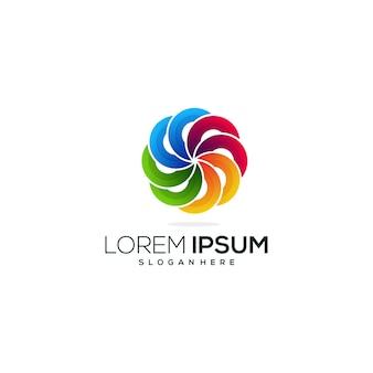 Modello di logo colorato cerchio astratto