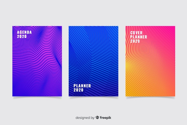 Collezione copertina colorata astratta Vettore Premium