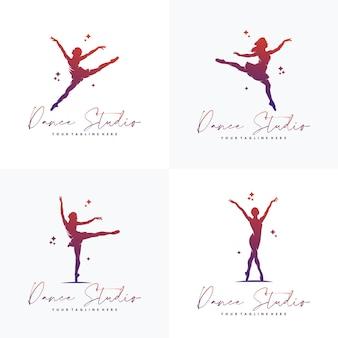Disegno del logo ginnastica astratto colorato
