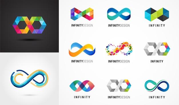 Infinito astratto colorato, simboli infiniti e collezione di icone