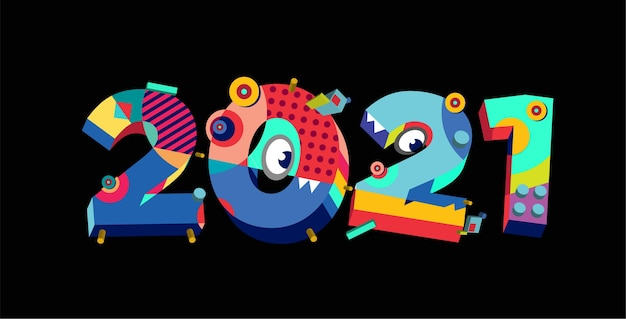 Banner di saluto astratto colorato nuovo anno 2021