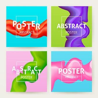 Insieme variopinto del manifesto astratto. illustrazione vettoriale di colore di sfondo creativo.