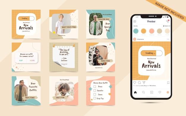 Banner di post carosello di social media astratto colorato senza soluzione di continuità per la promozione della vendita di moda instagram