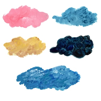 Nuvole acriliche colorate su sfondo bianco per la decorazione. manifesto del paesaggio. concetto di forma moderna. nube del cielo.