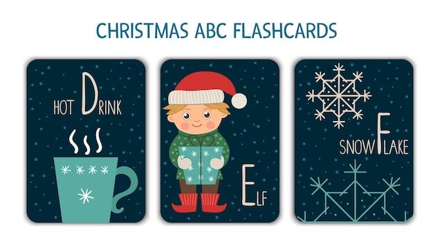 Alfabeto colorato lettere d, e, f. flashcard fonetica. simpatiche carte abc a tema natalizio per insegnare a leggere con divertente bevanda calda, elfo, fiocco di neve. attività festiva di capodanno.