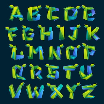 Lettere dell'alfabeto colorate in stile basso poli
