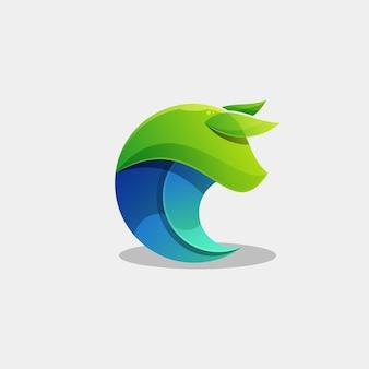 Modello di vettore dell'illustrazione del logo del toro animale colorato
