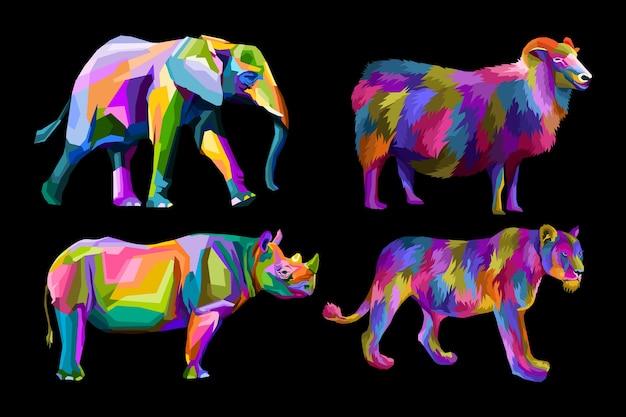 Illustrazioni di ritratti di animali colorati pop art