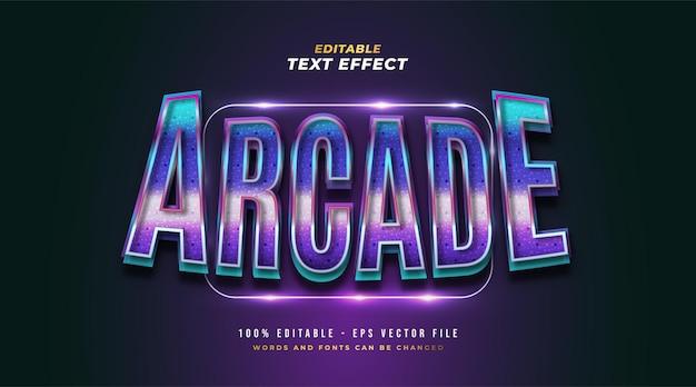 Testo arcade colorato in stile retrò e gioco con effetto 3d e lucido. effetto stile testo modificabile