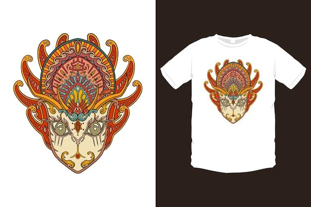 Maschera asiatica colorata, illustrazione della maschera della cultura balinese