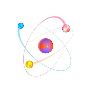 Struttura fisica dell'atomo colorato con orbite di elettroni luminose su bianco