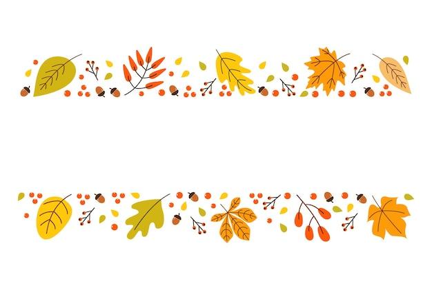 Banner orizzontale autunnale colorato con foglie bacche e ghiande isolate su sfondo bianco