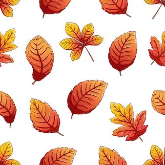 Modello senza cuciture colorato autunno foglie con stile disegnato a mano
