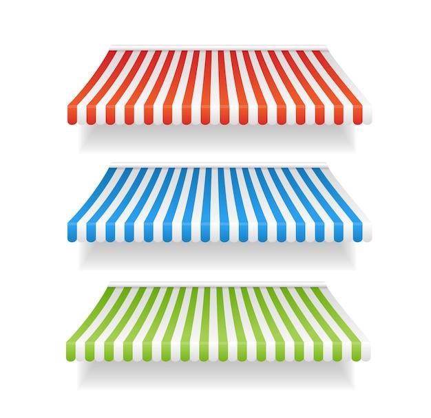 Tende da sole colorate per negozio impostare diversi tipi