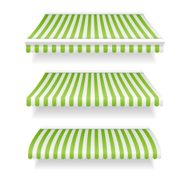 Negozio di tende da sole colorate in verde.