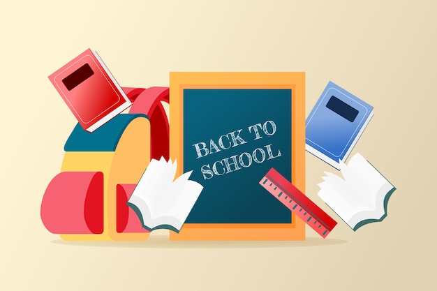 Vettore premium di sfondo colorato per il ritorno a scuola adatto a più scopi
