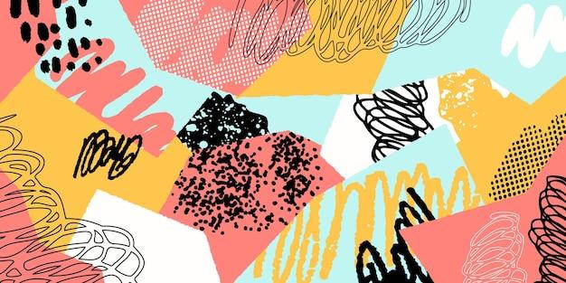 Collage di sfondo colorato con diverse forme e trame