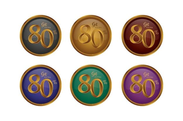 Set di badge colorati sconto con l'ottanta 80 percento