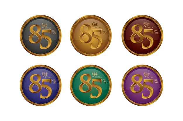 Set di badge colorati sconto con ottantacinque 85 percento