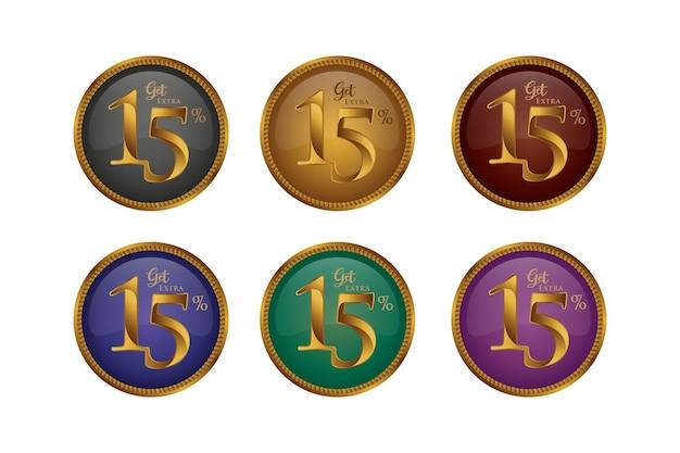 Sconto set di badge colorati con quindici 15 percento