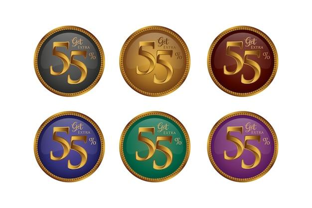 Set di badge colorati sconto con cinquantacinque 55 percento